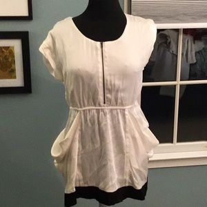 Cream and Black Zip Front Top with Pockets